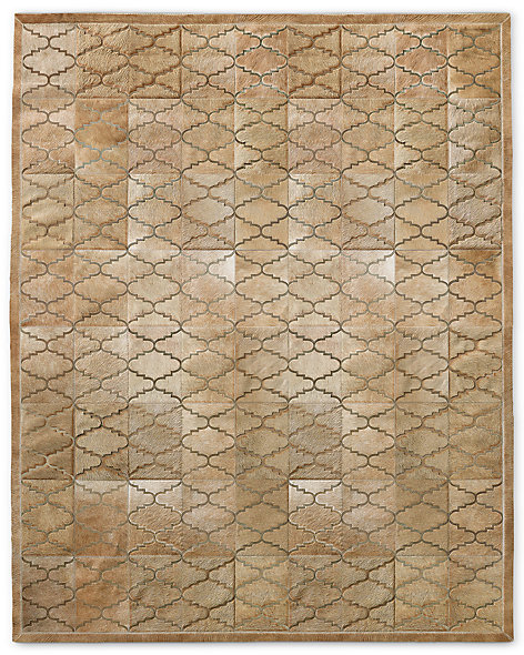 Etched Moroccan Tile Cowhide Rug - Sand