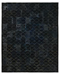 Etched Moroccan Tile Cowhide Rug - Navy