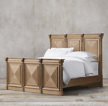 19th C. French Carved Door Panel Bed With Footboard