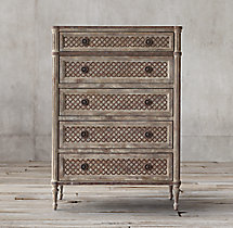 Louis XVI Treillage 5-Drawer Narrow Dresser