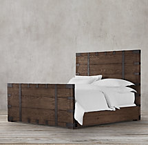 Heirloom Silver-Chest Panel Bed With Footboard