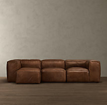 Fulham Leather Left-Arm Chaise Sectional