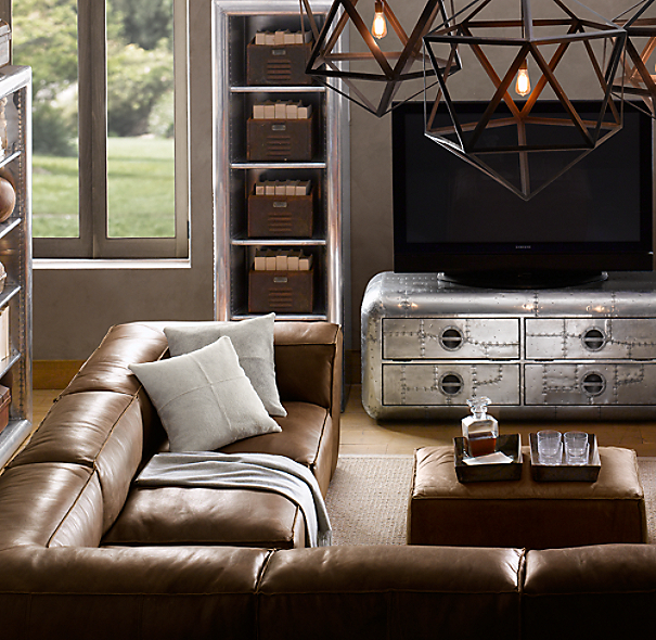 Leather Sectional Sofa Restoration Hardware: Fulham Leather Customizable Sectional
