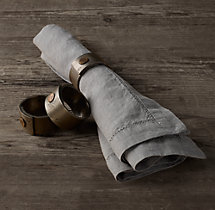 Hammered Steel Rivet Napkin Rings (Set of 4)