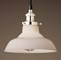20th C. Factory Filament Milk Glass Barn Pendant