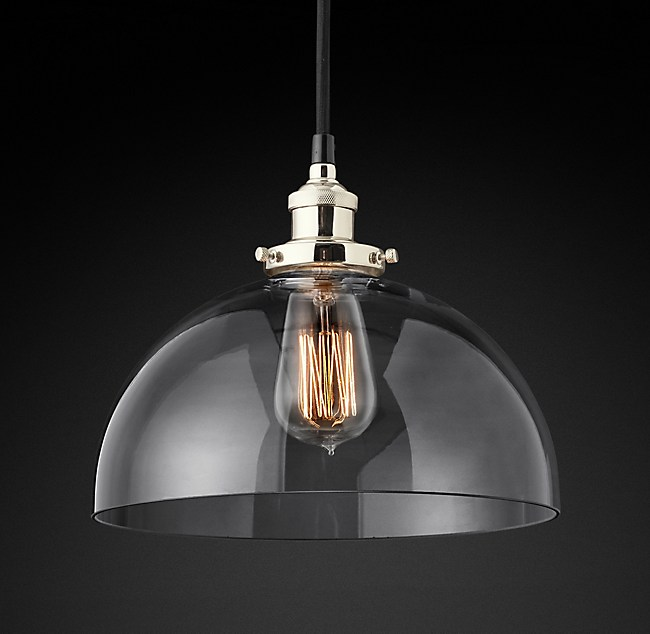 C factory filament clear glass dome pendant 20th c factory filament clear glass dome pendant aloadofball Gallery