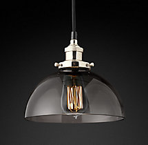 20th C. Factory Filament Smoke Glass Dome Pendant
