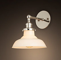 20th C. Factory Filament Milk Glass Barn Sconce