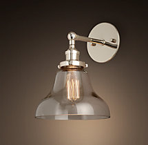 20th C. Factory Filament Clear Glass Boulangerie Sconce