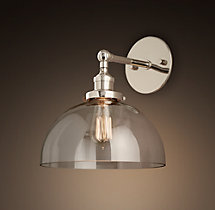 20th C. Factory Filament Clear Glass Dome Sconce