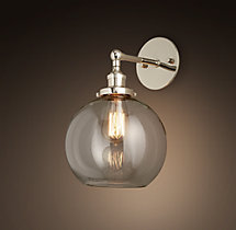 20th C. Factory Filament Clear Glass Café Sconce
