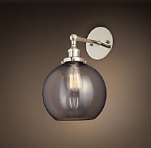 20th C. Factory Filament Smoke Glass Café Sconce