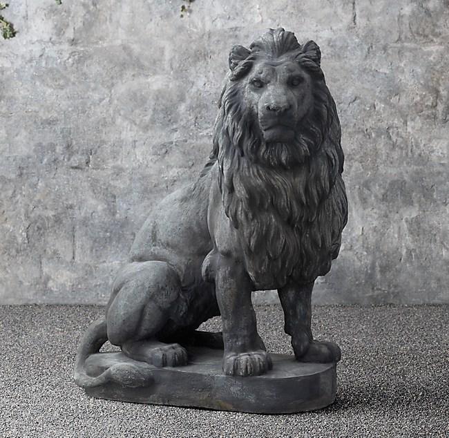 19th C Belgian Cast Stone Lions