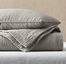 Vintage-Washed Linen Channel-Quilted Coverlet