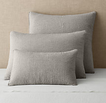 Vintage-Washed Linen Channel-Quilted Sham