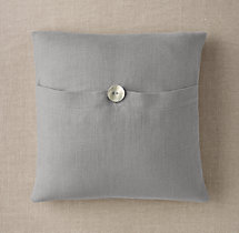 Custom Heavyweight Belgian Linen Button Square Pillow Cover