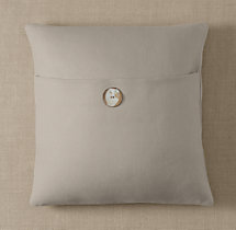 Custom Basket Weave Linen Button Square Pillow Cover