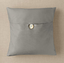 Custom Thai Silk Solid Button Square Pillow Cover