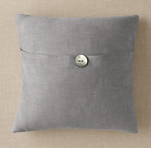 Custom Perennials® Classic Linen Weave Button Square Pillow Cover