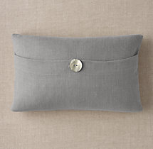 Custom Heavyweight Belgian Linen Button Lumbar Pillow Cover