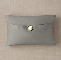Custom Thai Silk Solid Button Lumbar Pillow Cover