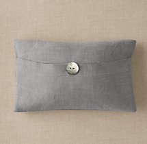 Custom Perennials® Classic Linen Weave Button Lumbar Pillow Cover