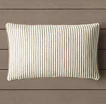 Custom Perennials® Portofino Ticking Stripe Piped Lumbar Pillow Cover