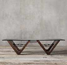 Reclaimed Wood & Glass V-Form Coffee Table