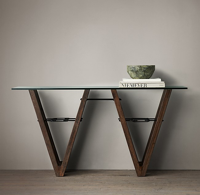 Reclaimed Wood Glass V Form Console Table