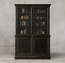 19th C. English Notary Double-Door Sideboard & Mesh Hutch