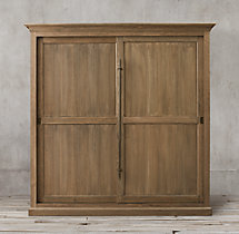20th C. English Brass Bar Slider Panel Double-Door Cabinet