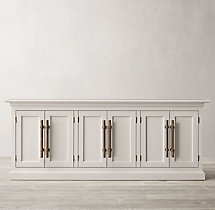20th C. English Brass Bar Pull Panel 6-Door Sideboard