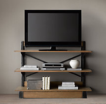 Oak & Iron Cross-Brace Media Console