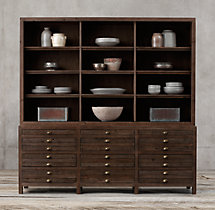 Printmaker's Wide Triple Sideboard & Open Hutch