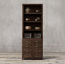 Printmaker's Double Sideboard & Open Hutch
