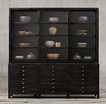Printmaker's Triple-Door Sideboard & Glass Hutch