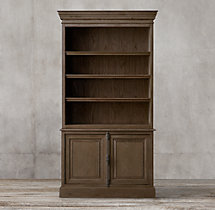 French Panel Double-Door Sideboard & Open Hutch