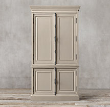 French Panel Double-Door Sideboard & Closed Hutch