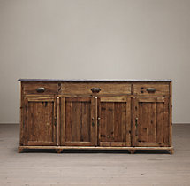 "19Th C. Victorian Bluestone 67"" Wood Sideboard"