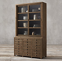 Printmaker's Wide Double-Door Sideboard & Glass Hutch