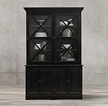 French Neoclassical Double-Door Sideboard & Glass Hutch