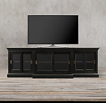 20Th C. English Slider Glass Media Console