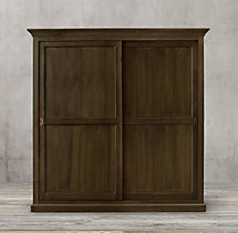 20th C. English Slider Panel Wide Double-Door Cabinet