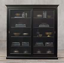 20th C. English Slider Glass Wide Double-Door Cabinet