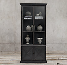19Th C. Swedish Panel Double-Door Sideboard & Glass Hutch
