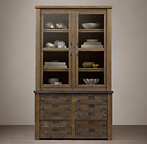 Early 20th C. Zinc-Top Mercantile Glass Double-Door Sideboard & Hutch