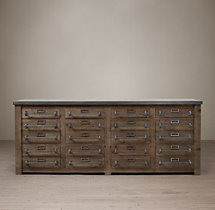 Early 20th C. Zinc-Top Mercantile Sideboard