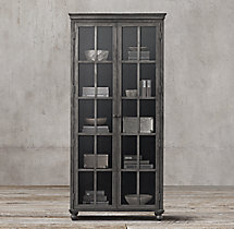 Annecy Metal-Wrapped Glass Double-Door Cabinet