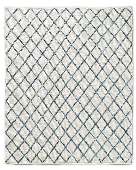 Braided Diamante Rug - White/Marine