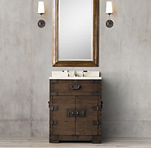 Heirloom Silver-Chest Powder Room Vanity Sink